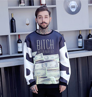 Wholesale round neck pullover loose sweater - Spring EU US Mens Round Neck Sweater Fashion Tide Brand USD Printed Street Style Tops Mans Personality Long Sleeved Sweater