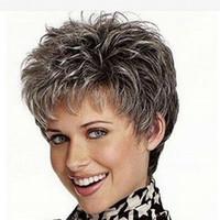 фотографии красивые женщины оптовых-фото цветов горячая распродажа вьющиеся волосы продукты Красивый мальчик оборвалась пикси парики для женщин синтетические волосы серый парик с челкой