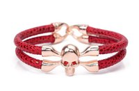 Wholesale stainless steel skull beads - 2018 New listing Men and women double bracelet Imitation skin skull bracelets leather Bangle Free shipping NK 136