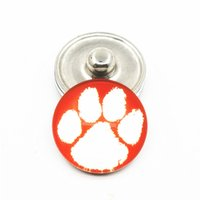 Wholesale sports team jewelry - 20pcs lot NCAA Clemson Tigers Team Sports Charms Ginger Glass Snap Buttons Fit 18mm Snap Women&Men Bracelet&Bangles DIY Jewelry