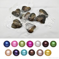 perlas de agua dulce colores al por mayor-Regalo de lujo Akoya Oyster de perlas de concha de agua dulce de amor barato de alta calidad 6-8mm ostras de perlas de colores mezclados con envasado al vacío