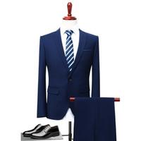 Wholesale men s blazers slim fit - 2018 Men Business Suit Slim fit Classic Male Suits Blazers Luxury Suit Men Two Buttons 2 Pieces(Suit jacket+pants)