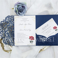 Wholesale Folding Envelopes - 2018 Navy Blue Laser Cut Pocket Wedding Invitation Suites, Customizable Invites With Envelope, Free Shipped by UPS