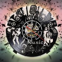 дизайн музыкального искусства оптовых-Music Band Wall Clock Personality Musicn Instrument  Record Wall Clock 3D Watches Modern Design Art Decorative