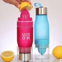 ingrosso bottiglia di frutta bpa free eu-Regalo 650ML H2O succo di limone frutta bottiglia di acqua infusore bicchieri per esterno portatile bottiglia di sport shaker BPA libero