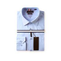 uzun ince sığdırılmış tişörtler toptan satış-Erkek Moda Giyim Yeni Tasarımcı% 100% pamuklu t Gömlek Erkekler Uzun Kollu Slim Fit Elbise Gömlek