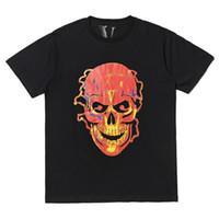 cráneos de la ropa de las mujeres al por mayor-Vlone Flame Skull T-shirt hombres mujeres camiseta harajuku camiseta punky hip hop streetwear marca verano ropa de algodón camisetas de impresión tops al aire libre