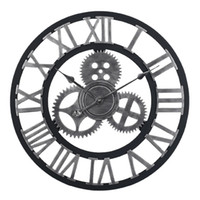 Wholesale circular wall lights for sale - Group buy 60cm Large Circular Wall Clock Retro Gear Rome Style Quarz Silent Hanging Needle Clock For Home Living Room Decor Colors