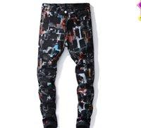 impresión digital jeans al por mayor-Nuevos pantalones de impresión digital de viento de Europa y Estados Unidos Los hombres de moda de Slim Stretch estampado de jeans de mezclilla alta Qulaity # 5621
