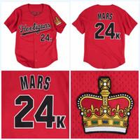 Wholesale vintage awards - 24K Bruno Mars Hooligans Mens BET Awards Vintage Baseball Jersey All Stitched Mix Order S-3XL High Quality Freeshipping