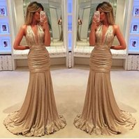 Wholesale Western Mermaid Gown - 2017 sexy elegant long evening gowns satin fabric black girl western country style for woman dress gold prom formal dresses mermaid