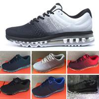 correndo roupas masculinas venda por atacado-Nike Air Max 2017 Airmax 2017 Venda Quente de Alta Qualidade de Malha Malha Sportswear Das Mulheres Dos Homens 2017 Sapatos de Corrida Barato Esportista Tênis de Treinamento Eur 36-45