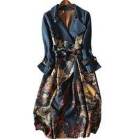 ingrosso donna di trincea lunga-2018 autunno e inverno scamosciato a maniche lunghe Trench Coat Women plus size