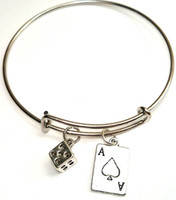 Wholesale American Poker - 12pcs lot Poker bracelet Charm bangles Jewelry Casino Las Vegas bracelet