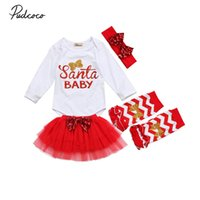 юбка рождественская юбка оптовых-2017  New 4 Pcs Newborn Toddler Infant Baby Girl Santa Romper Tulle Skirt Leg Warmer Outfits Red Xmas Set Christmas Clothes