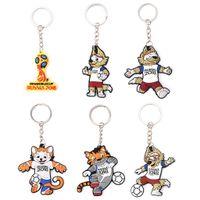 Wholesale wholesale wolf keychain - Russia World Cup Mascot Keychain Football Souvenir Zabivaka Soccer Zabivaka Wolf Figure Key Ring cartoon FFA245 6styles 600pcs