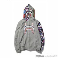 Wholesale animals teeth for sale - Mens Camo Shark Hoodies Black Gray Patchwork Brand Hoodies Hip Hop Streetwear Off Autumn White Shark Teeth Zipper Hooded sweatshirts
