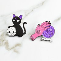 Wholesale wholesale witch balls online - Witch Magic Crystal Ball Lepal Pins Brooch Badge Fashion Jewelry for Women Men Kids Gifts Drop Ship
