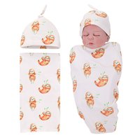 Wholesale unisex receiving blankets - Mikrdoo Newest Baby Cotton Receiving Blanket Newborn Infant Cartoon Sloth Printing Swaddle and Hat 2PCS Outfit
