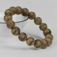 segen armbänder frauen großhandel-12mm Natürliche Duftende Agilawood Aloeswood Holz Runde Perlenarmband Frauen Männer segnen Sie
