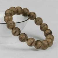 Wholesale fragrant wood for sale - Group buy 12mm Natural Fragrant Agilawood Aloeswood Wood Round Bead Bracelet Women Men Bless You