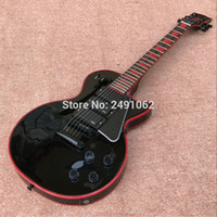 Wholesale red brown guitar resale online - 2018 New Electric Guitar Black Guitar Custom Red Edge Pickups Black Hardware Custom shop