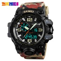 Wholesale Double Chronograph Watch Men - SKMEI Big Dial Dual Sport Digital Watch Men Chronograph Waterproof LED Wristwatch Military Double Time 1155 relogios masculino