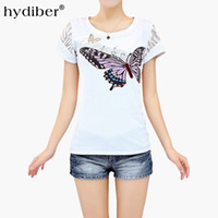 Wholesale t shirts rhinestones wholesale - Butterfly Print White T-shirt Women Plus Size Tops 2017 Summer New Rhinestones Cotton O-neck Short Sleeve Women's T-shirt femme