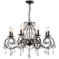 Wholesale cheap black crystal chandelier - 8 Lights cheap Chandeliers-Chandelier Pendant Light Ambient Light - Crystal, Artistic Traditional   Classic, 110-120V 220-240V Bulb Not Incl