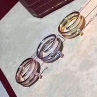 diamant nagel ring schmuck großhandel-Marke Top-Qualität 925 Sterling Silber Doppel Cicle Nagel Ringe für Frauen voller Diamant Hochzeit Schmuck Silber Liebe Ringe für hohe Qualität