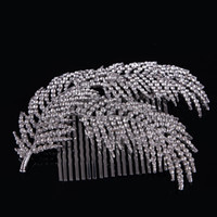 Wholesale rhinestone feather hair comb wedding for sale - Group buy Exquisite Rhinestone Hair Comb For Women Bride Wedding Hairdress Jewelry High Quality Feather Hair Accessories Hair Comb FS038 S919