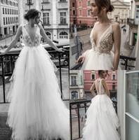 Wholesale sexy haute couture wedding dresses resale online - Ester Haute Couture Wedding Dresses Sexy V Neck Backless Lace Bridal Gown Appliqued robe de mariée Beach Wedding Dress Custom