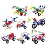ingrosso giocattoli forma di costruzione-Blocchi di costruzione in lega di metallo per bambini Divertenti giocattoli di assemblaggio 3D Moto in elicottero Jeep Toy Mattoni creativi 7 2yq B