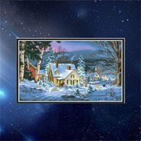 Wholesale painted decorative panels online - Diy Manual Christmas Diamond Painting Living Room Snow Scene Cross Stitch Drilled Picture Decorative Paintings Embroidery bj ff