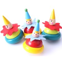 Wholesale Wood Spinning Toy Tops - NEW ARRIVAL Clown spinning top Wooden Toys Baby Rotary Gyro Tumbler Educational Toys Children Toys 2107717