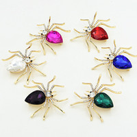 Wholesale unique fine jewelry resale online - Unique Design spider CZ Diamond Brooch Attractive Crystal Brooches Pin For Women Men Fine Jewelry Gift