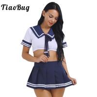japanische sexy uniform schule großhandel-TiaoBug 2 STÜCKE Frauen Schule Mädchen Sexy Cosplay Kostüm Japanese Sailor Uniform Kurzarm Crop Top mit Rock Frauen Fantasie Set