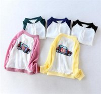 Wholesale cute jackets for spring for sale - Group buy Kids chiffon sun proof clothing cute striped car printing zipper thin coat for spring summer boys girls casual sun protective clothing A08