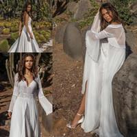 Wholesale flowy beach wedding dresses online - Asaf Dadush Wedding Dresses With Long Sleeve Wrap Jacket Vintage Crochet Lace Fairy Flowy Chiffon Beach Boho Bridal Wedding Gowns