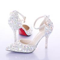 düğün ayakkabıları kulübü toptan satış-Yeni kristal rhinestone Parlak yüksek topuk kadın bayan Kadın Gelin Akşam Balo Parti kulübü Bar Düğün Gelinlik ayakkabı