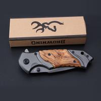 Wholesale wood fishing toys resale online - Browning X49 Tactical Folding Knife Steel Blade Wood Handle Titanium Pocket Survival Knives Huntting knife Fishing EDC Tool