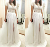 Wholesale two piece wedding dresses for sale - 2018 Vintage Ball Gown Wedding Dresses Two Pieces Thigh High Slits Lace Applique Bridal Gowns Removable Skirt Style Gowns