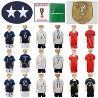 Wholesale youth shirts - 2 Stars Youth Soccer Jersey Kids Set 7 GRIEZMANN 6 POGBA 10 MBAPPE GIROUD Lloris Football Shirt Kits Short 2018 World Cup Champions