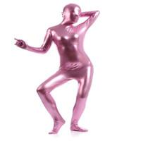 voller bodysuit rosa großhandel-Damen Shiny Metallic Ganzkörper Bodysuit Lady Pink Ganzkörper Bodysuit Dancewears Frauen Catsuit Fancy Halloween Kostüme