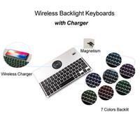 беспроводная клавиатура bluetooth для iphone оптовых-Bluetooth-клавиатура с подсветкой и беспроводным зарядным устройством QI для iPhone X Samsung 7 цветов Подсветка клавиатуры из алюминиевого сплава для Windows Android