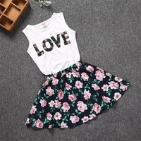 Wholesale love child baby clothes resale online - 100 cm Baby Girls Clothes LOVE Tops Flower skirt Pretty Flowered Cotton Kids Sets Summer Children Girl Clothing Set