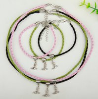 Wholesale dark purple necklace set for sale - Group buy Hot Set Ancient Silver Cowboy Boots Charm Pendant Multicolor Braided Rope Necklace Bracelet Set Women Jewelry Valentine s Day Holiday Gift