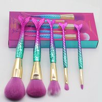 Wholesale professional makeup tool box for sale - 5pcs Brand Mermaid Brushes Makeup Cosmetic Eyeshadow Powder Blush Brushes Set Professional Make Up Tool Kit with Retail Box