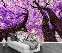 papel de parede roxo para sala de estar venda por atacado-Personalizado foto papel de parede roxo flor árvore papel de parede para sala de estar quarto home decor tv pano de fundo murais de parede
