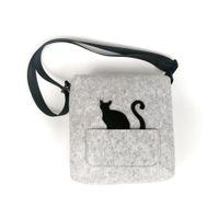 sevimli kedi omuz çantası toptan satış-Sevimli kedi keçe çapraz vücut omuz çantası ile kız için esnek kemer moda kadın çanta eko crossbody bagfelt malzeme